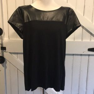 A.N.A Black Faux Leather Top Sz XL